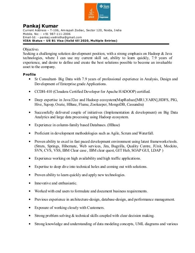 pankaj resume for hadoopjavaj2ee outside world - Java Sample Resume