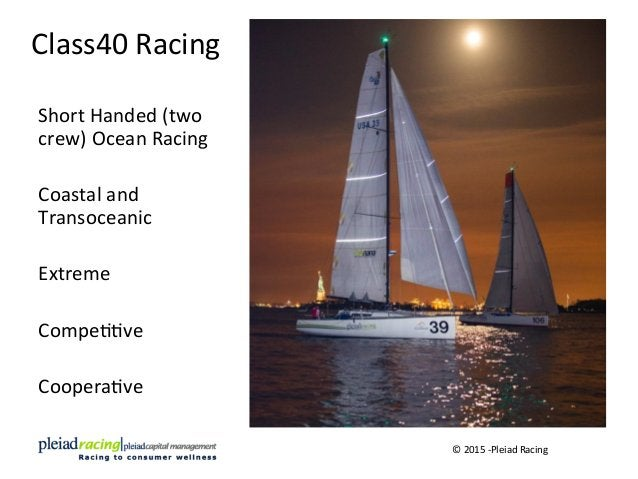Class40  Racing   Short  Handed  (two   crew)  Ocean  Racing      Coastal  and   Transoceanic    ...