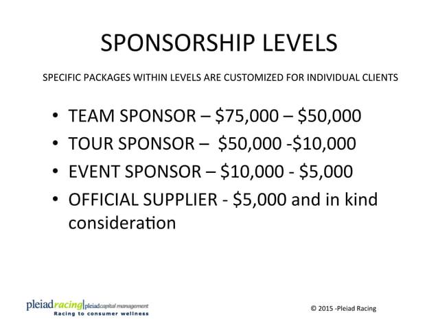 SPONSORSHIP  LEVELS   • TEAM  SPONSOR  –  $75,000  –  $50,000   • TOUR  SPONSOR  –    $50,000  ...