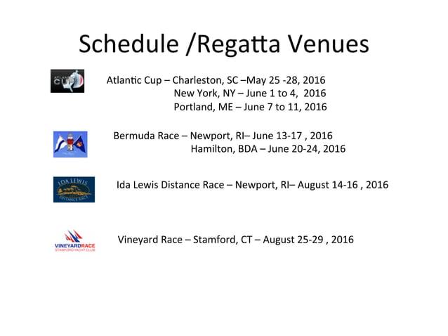 Schedule  /RegaHa  Venues   AtlanDc  Cup  –  Charleston,  SC  –May  25  -‐28,  2016         ...
