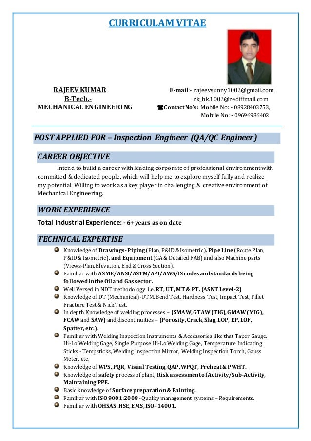 2016 Resume Of Rajeev Kumar Inspection Engineer Surveyor 1