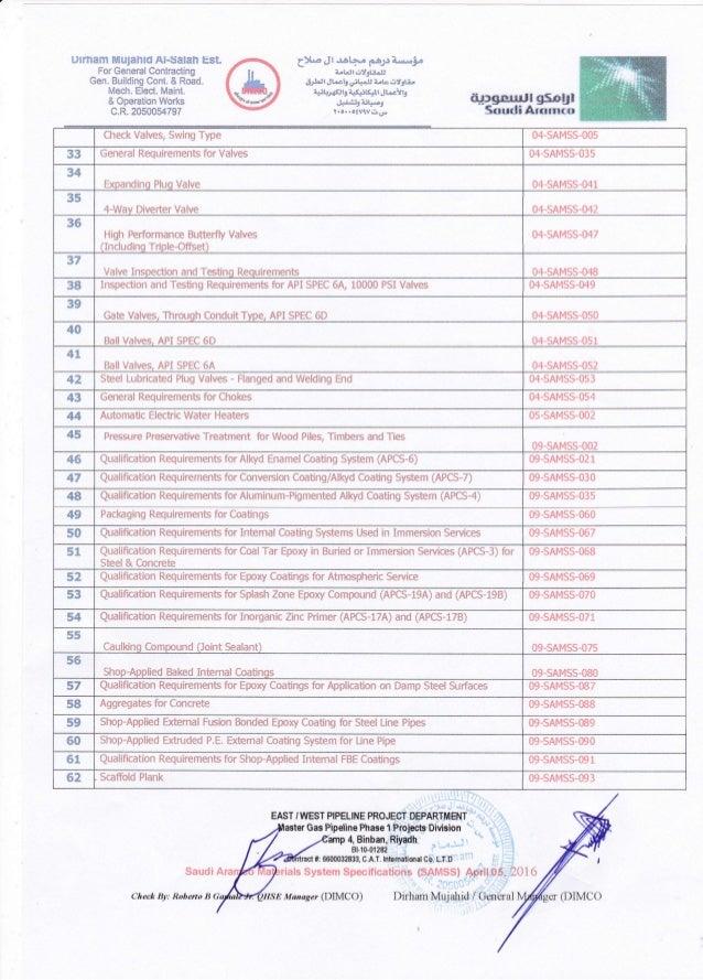 Saudi Aramco Materials System Specifications (SAMSS) 2
