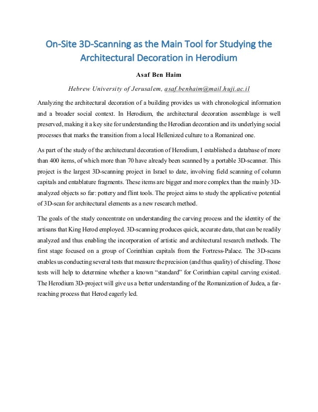 On-­‐Site	   3D-­‐Scanning	   as	   the	   Main	   Tool	   for	   Studying	   the	    Architectural	   Decoration	   in	  ...