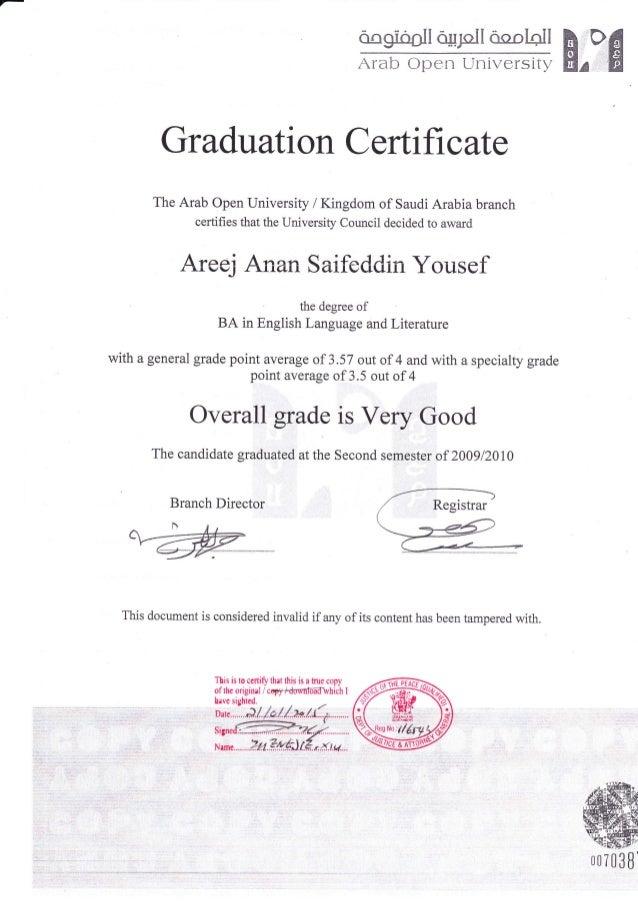 Aou Graduation Certificate