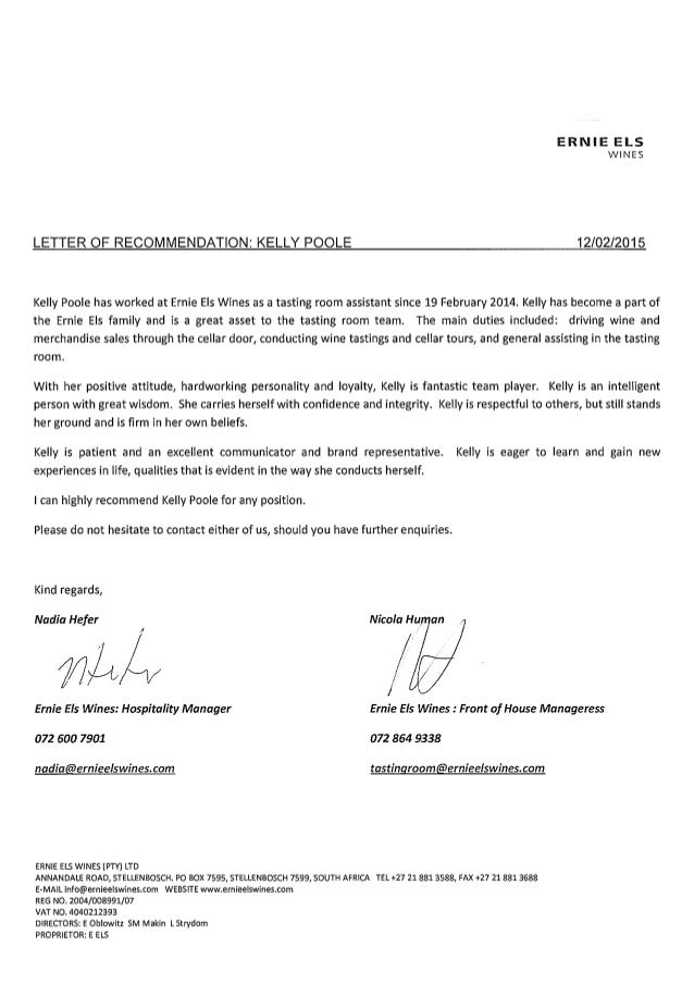 Reference Letter From Employer At Ernie Els Wines KELLY POOLE