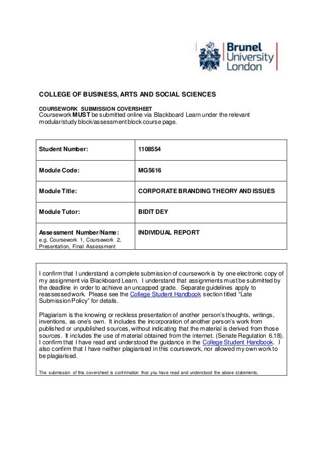 brunel coursework cover sheet