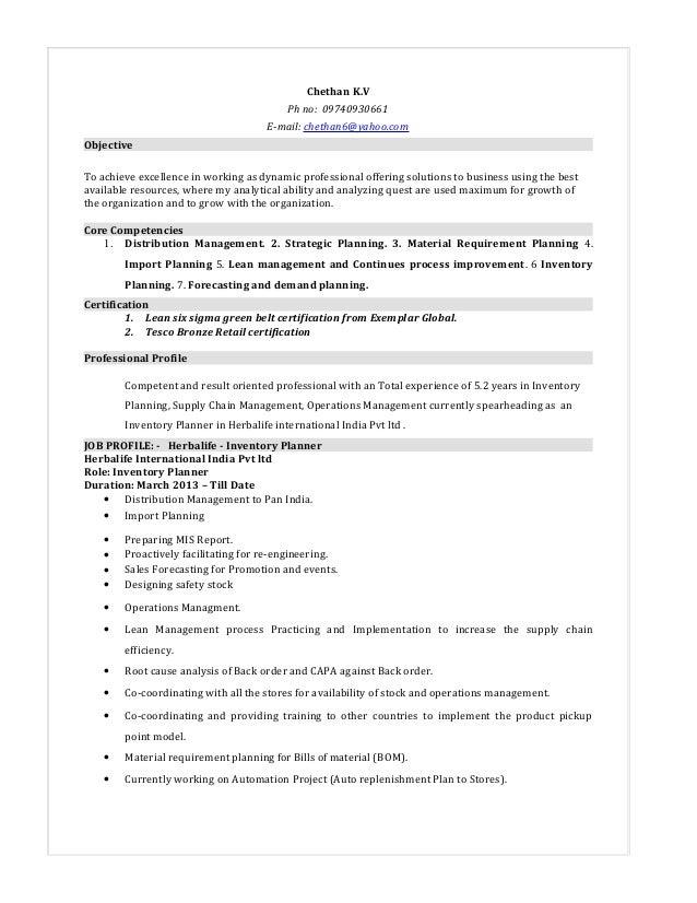inventory resume