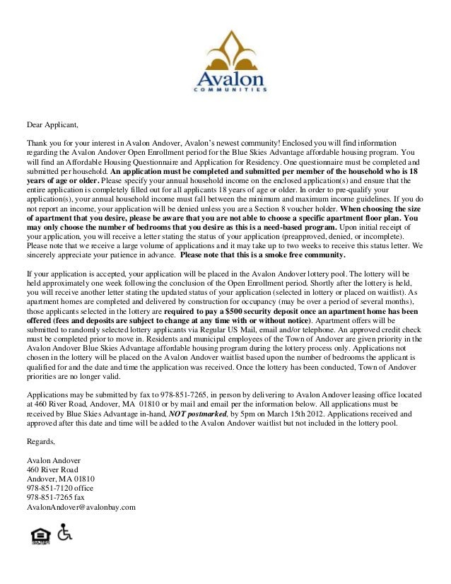 Dear Applicant, Thank you for your interest in Avalon Andover, Avalon's newest community! Enclosed you will find informati...