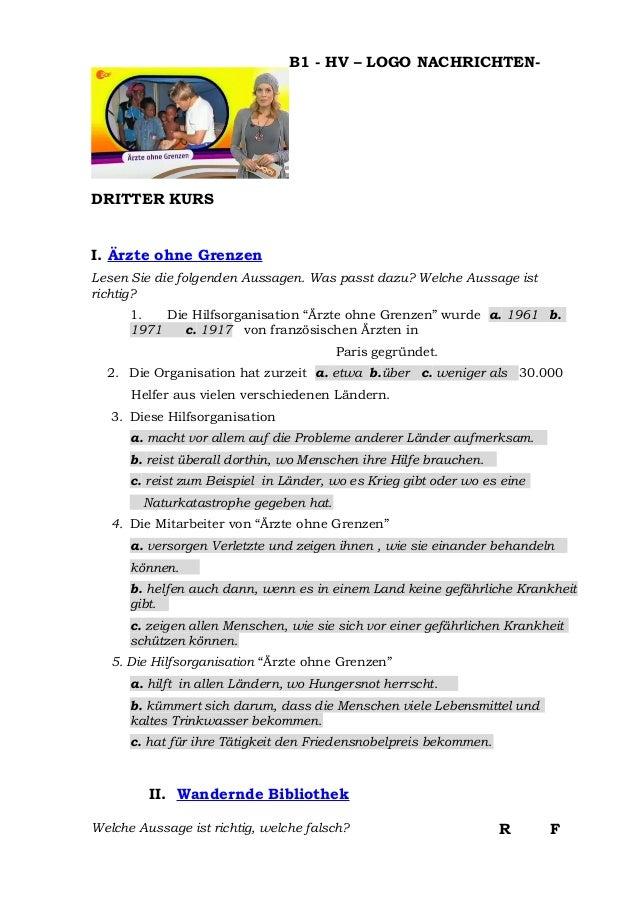 B1 - HV – LOGO NACHRICHTEN-DRITTER KURSI. Ärzte ohne GrenzenLesen Sie die folgenden Aussagen. Was passt dazu? Welche Aussa...