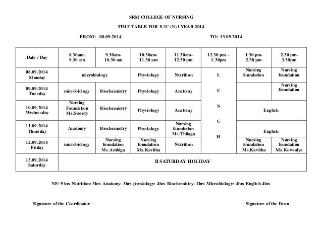 B1 time table srm college of nursing time table for b n i year 2014 greentooth Gallery