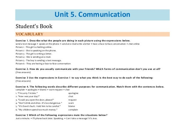 Unit 5. Communication Student's Book VOCABULARY Exercise 1. Describe what the people are doing in each picture using the e...