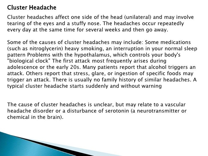 Dating some one with cluster headaches