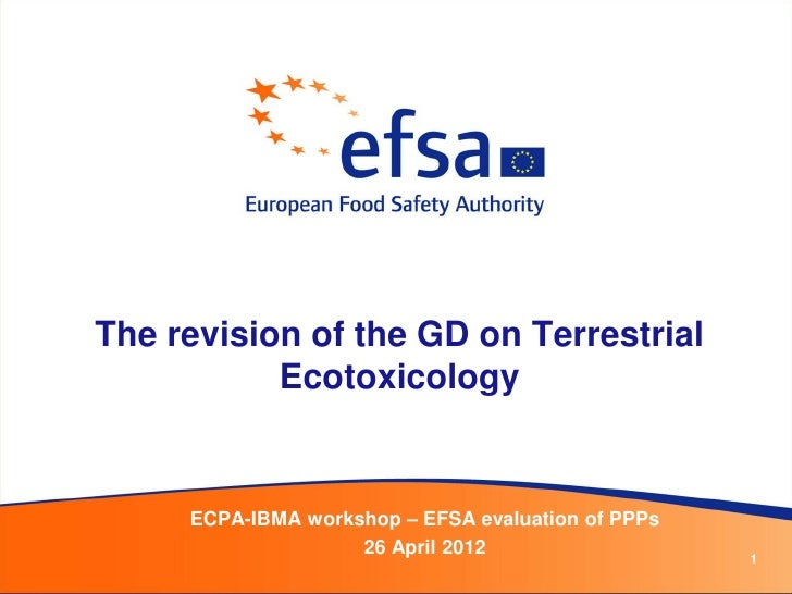 The revision of the GD on Terrestrial           Ecotoxicology     ECPA-IBMA workshop – EFSA evaluation of PPPs            ...