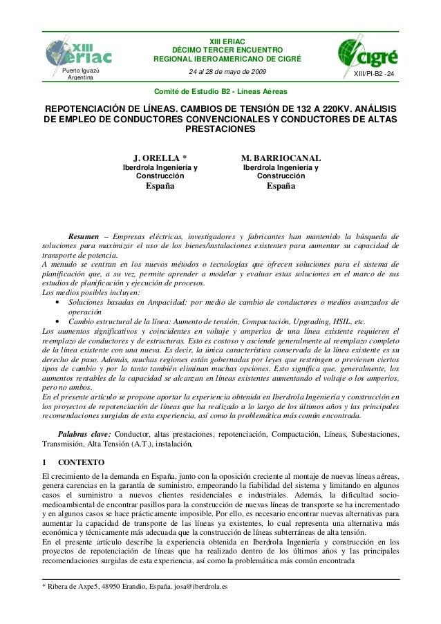 XIII ERIAC DÉCIMO TERCER ENCUENTRO REGIONAL IBEROAMERICANO DE CIGRÉ Puerto Iguazú Argentina  24 al 28 de mayo de 2009  XII...