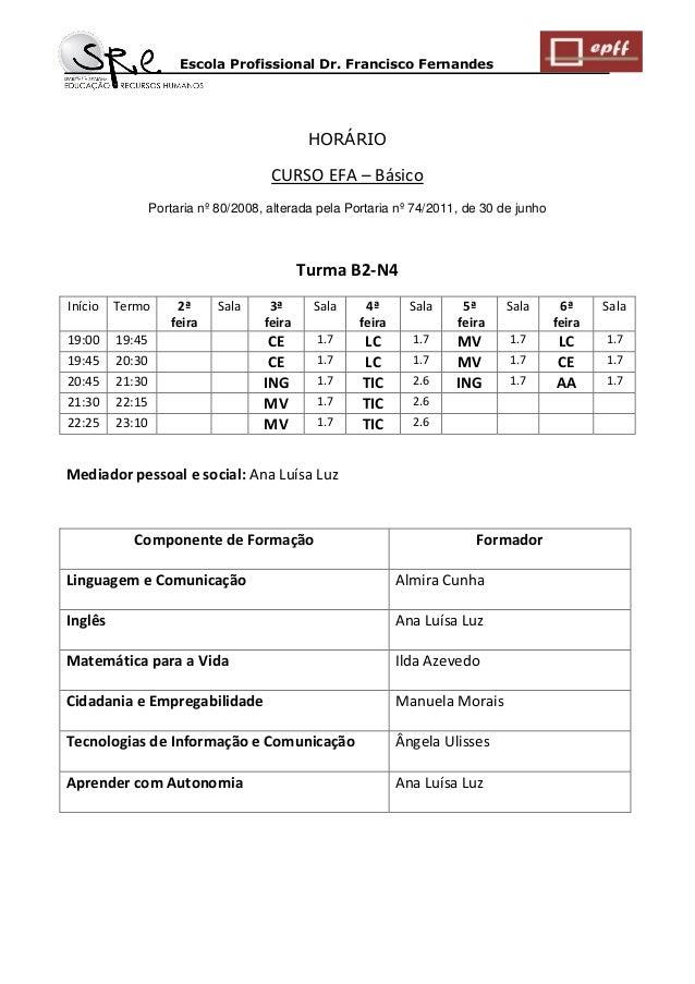 Escola Profissional Dr. Francisco Fernandes  HORÁRIO  CURSO EFA – Básico  Portaria nº 80/2008, alterada pela Portaria nº 7...