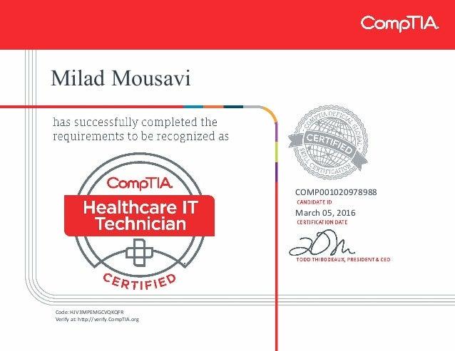 CompTIA Healthcare IT Technician certificate