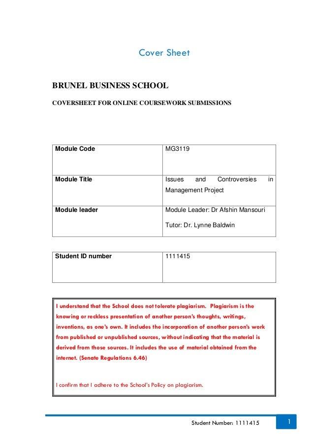brunel coursework cover sheet