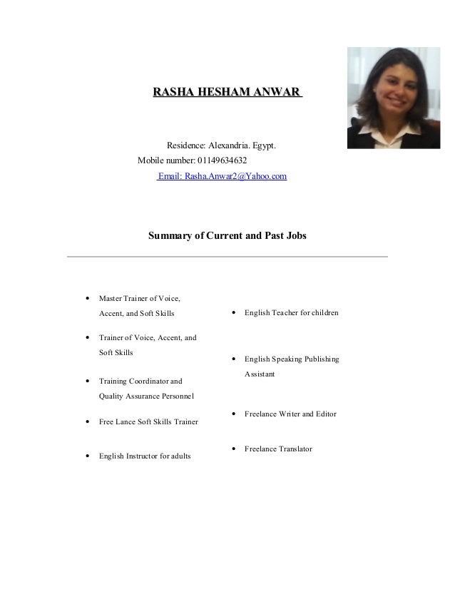 Rasha Anwar - CV and Cover Letter