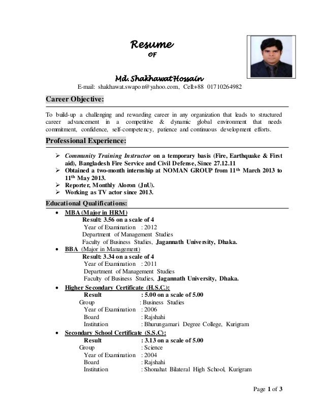 curriculum vitae of shakhawat page 1 of 3 resume of md shakhawat hossain e mail shakhawat