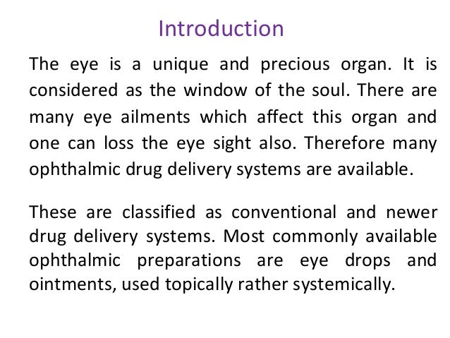 thesis on ocular drug delivery Ocular drug delivery: targeting the posterior segment many efforts are under way to improve drug delivery to the back of the eye by aron shapiro.