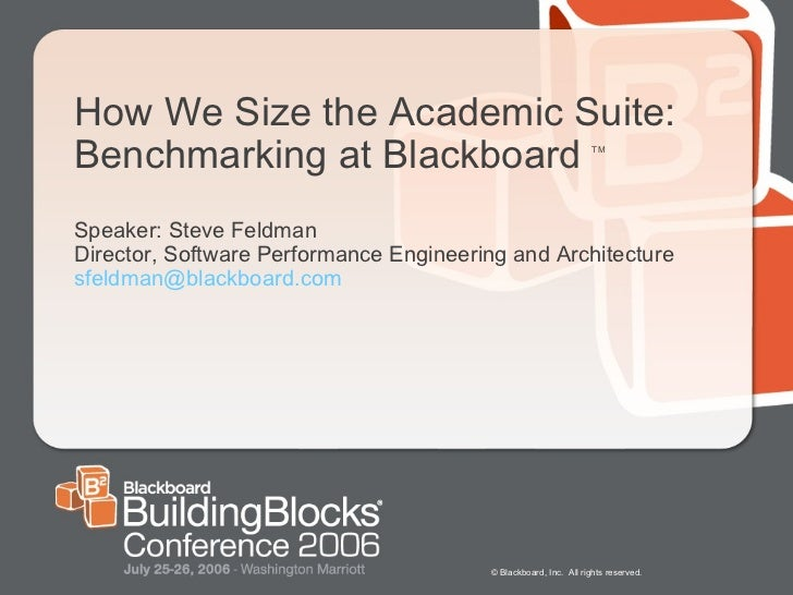 How We Size the Academic Suite: Benchmarking at Blackboard  TM Speaker: Steve Feldman Director, Software Performance Engin...