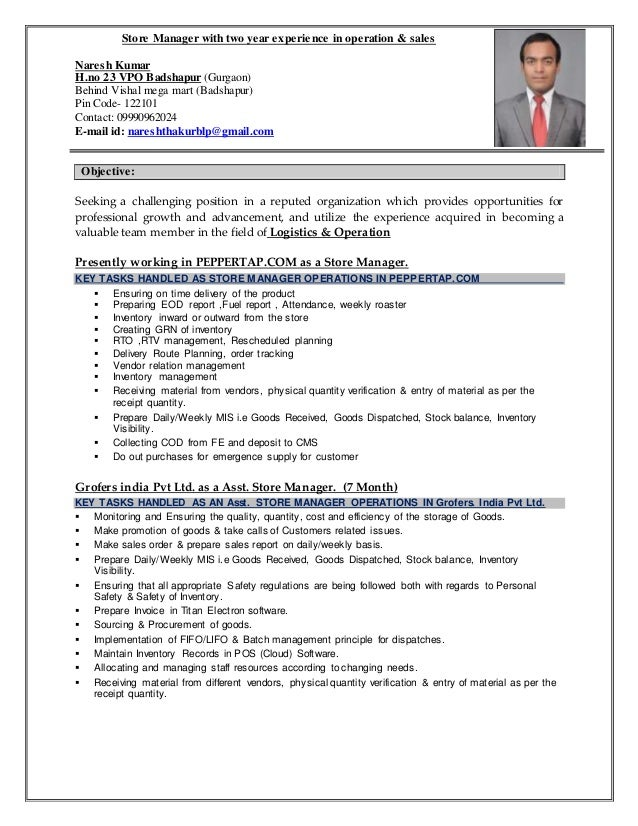 store manager with two year experience in operation sales naresh kumar hno 23 - Resume For Store Manager