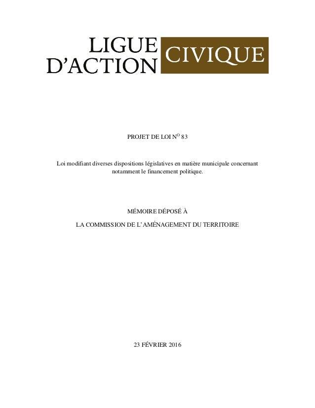 PROJET DE LOI NO 83 Loi modifiant diverses dispositions législatives en matière municipale concernant notamment le finance...
