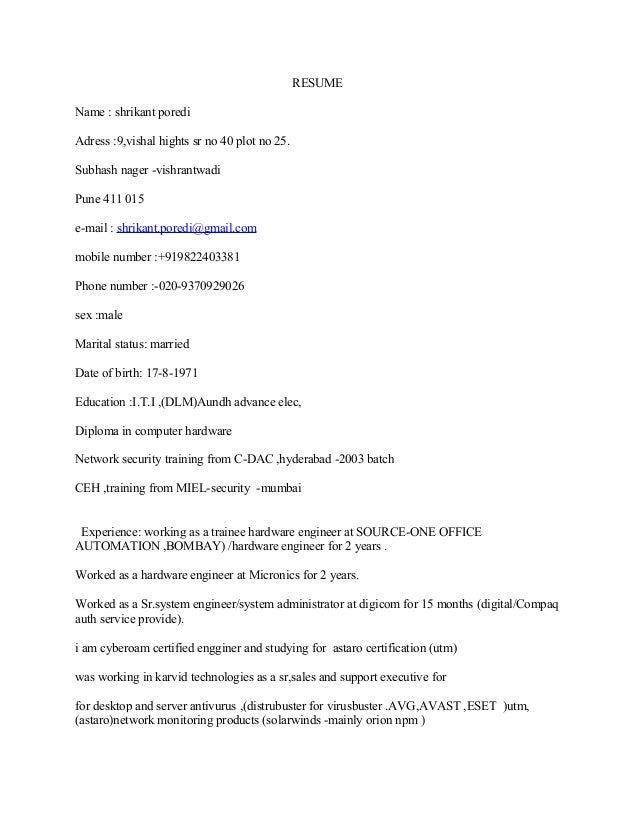 Resume Shrikant Poredi