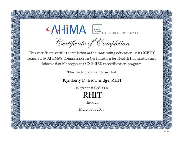 certification-rhit (1), Cephalic Vein