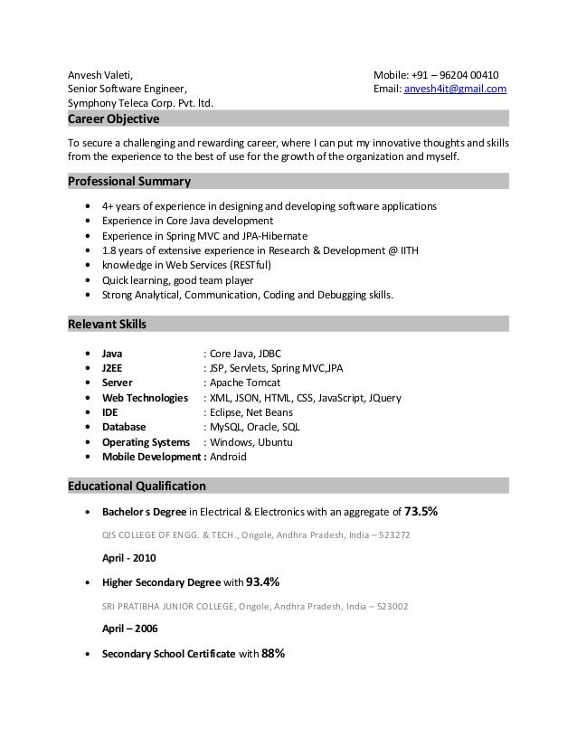 Anvesh Valeti, Mobile: +91 – 96204 00410 Senior Software Engineer, Email: anvesh4it@gmail.com Symphony Teleca Corp. Pvt. l...