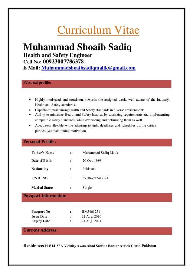 HSE ENGINEER CV OF MUHAMMAD SHOAIB SADIQ -2-
