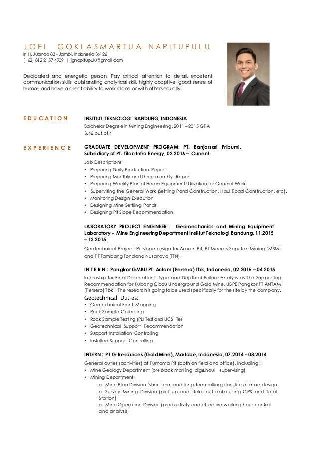 Resume (CV) Joel Goklasmartua Napitupulu
