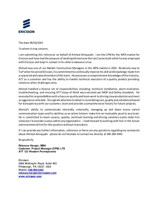 Ahmed Almayyahi Recommendation Letter