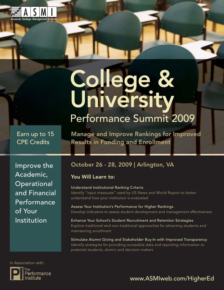 College & University Performance Summit 2009                               College &                           University ...