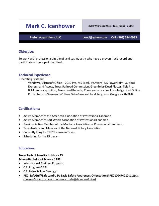 Mark C. Icenhower 2608 Wildwood Way, Tool, Texas 75143 Fusion Acquisitions, LLC. txmci@yahoo.com Cell: (303) 594-4985 Obje...