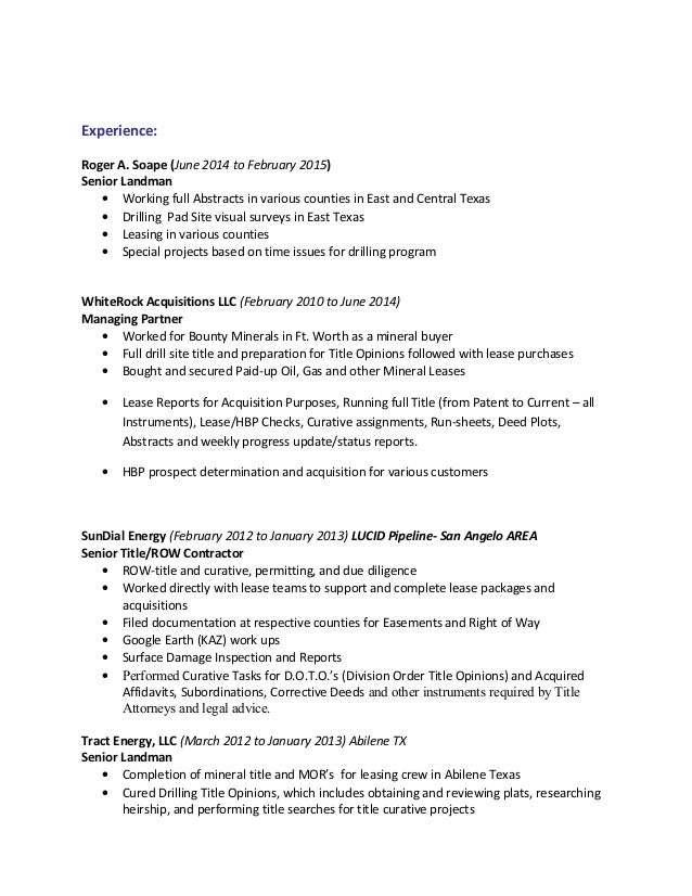 mark c icenhower landman resume 2015