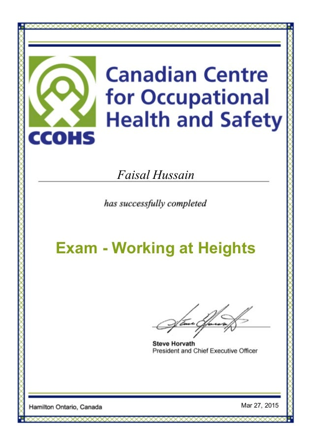 Certificate Working At Heights