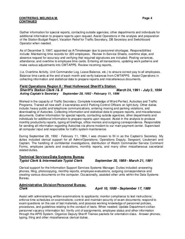 Resume For Clerk Typist. resume for clerk typist position sample ...