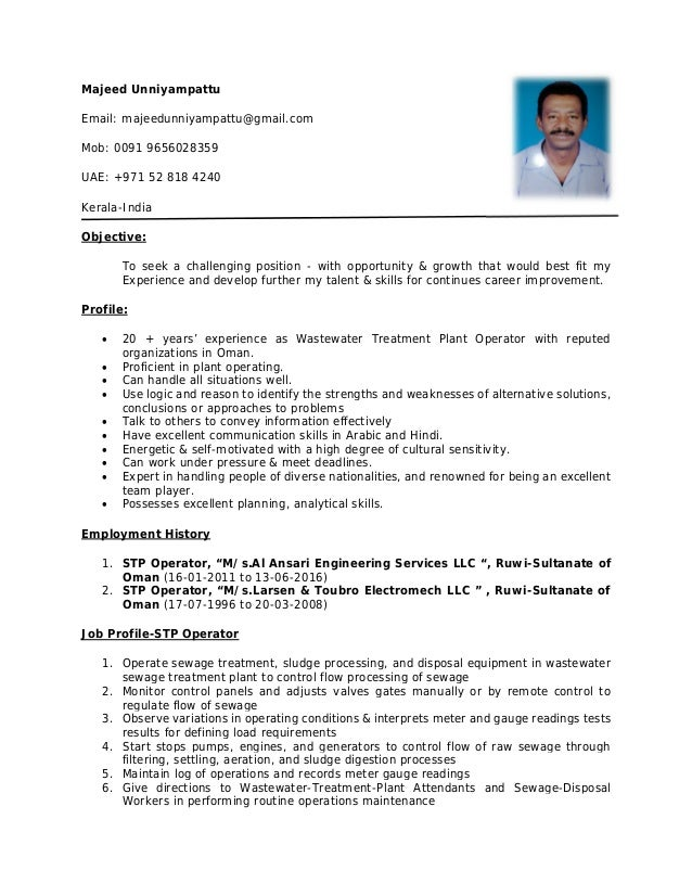 Majeed CV STP Operator