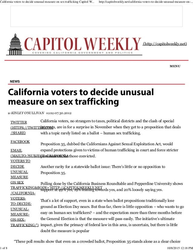 8c9cb86c873a ... to decide unusual measure on sex trafficking Capitol Weekly _ Capitol  Weekly _ Capitol Weekly_ The Newspaper of California State Government and  Politics