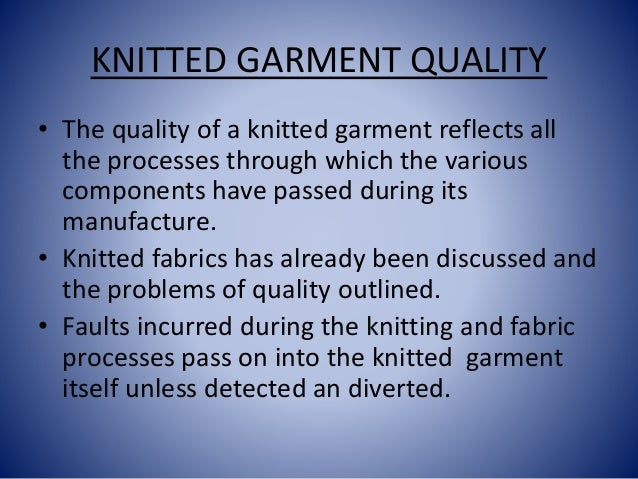 KNITTED GARMENT TECNH Slide 2
