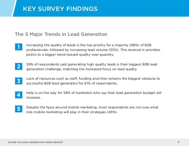 Share the LEAD GENERATION TREND Report 4 KEY SURVEY FINDINGS Increasing the quality of leads is the top priority for a maj...