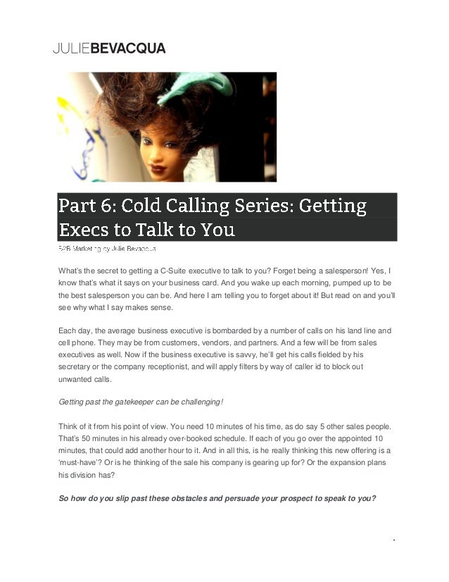 B2B Marketing: Part 6: Cold Calling Series: Getting Execs to Talk to …