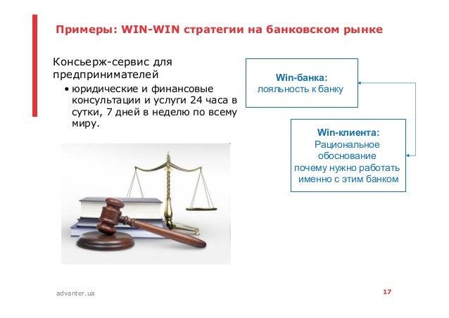 17advanter.ua Примеры: WIN-WIN стратегии на банковском рынке • Консьерж-сервис для предпринимателей • юридические и финанс...