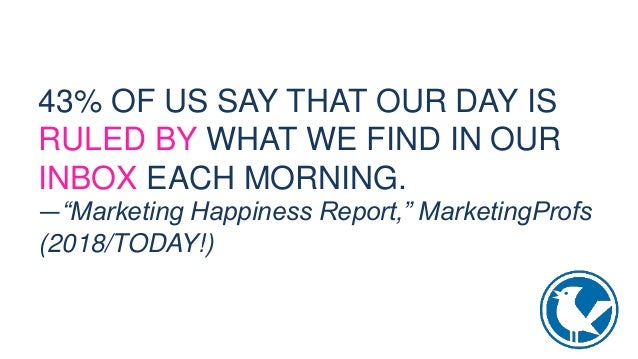 """43% OF US SAY THAT OUR DAY IS RULED BY WHAT WE FIND IN OUR INBOX EACH MORNING. —""""Marketing Happiness Report,"""" MarketingPro..."""