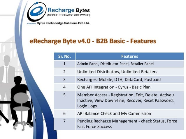 B2B Basic Features for Mobile Recharge Software
