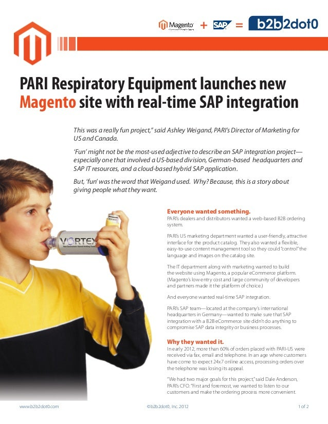 +                =PARI Respiratory Equipment launches newMagento site with real-time SAP integration                   Thi...