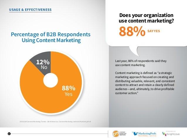 2016 B2B Content Marketing Trends—North America: Content Marketing Institute/MarketingProfs 6 USAGE  EFFECTIVENESS Does yo...