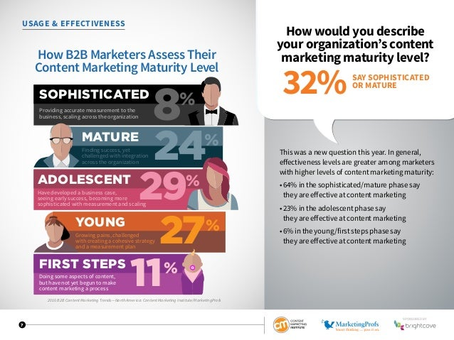 7 USAGE  EFFECTIVENESS How would you describe your organization's content marketing maturity level? This was a new questio...