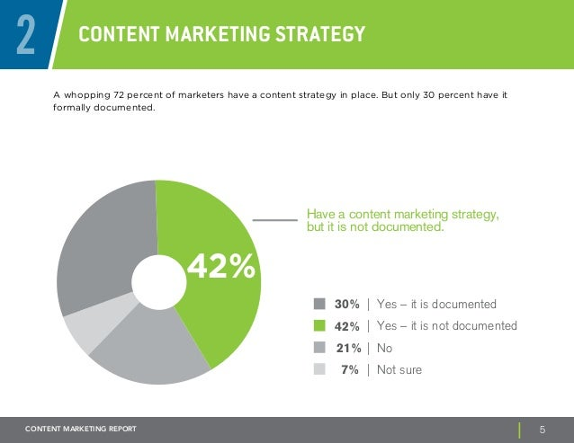2 Content Marketing Strategy  A whopping 72 percent of marketers have a content strategy in place. But only 30 percent hav...